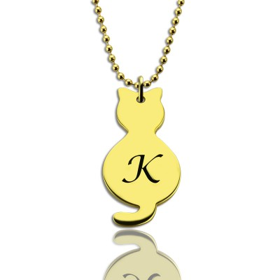 Gold Over Cat Initial Pendant Necklace - Name My Jewelry ™