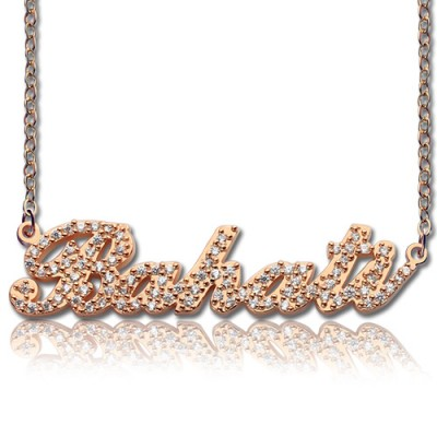 Rose Gold Plated Full Birthstone Carrie Name Necklace  - Name My Jewelry ™