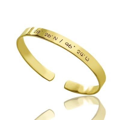 Engravable Latitude Longitude Coordinate Cuff Bangle 18ct Gold Plated - Name My Jewelry ™