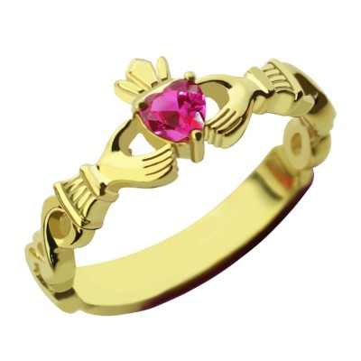 Ladies Modern Claddagh Rings With Birthstone  Name Gold Plated  - Name My Jewelry ™