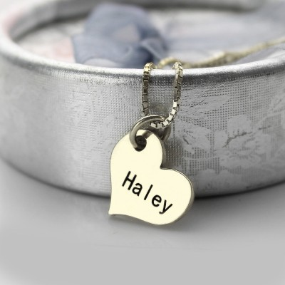 Couples Name Dog Tag Necklace Set with Cut Out Heart - Name My Jewelry ™