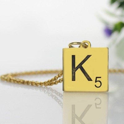 Engraved Scrabble Initial Letter Necklace 18ct Gold Plated - Name My Jewelry ™