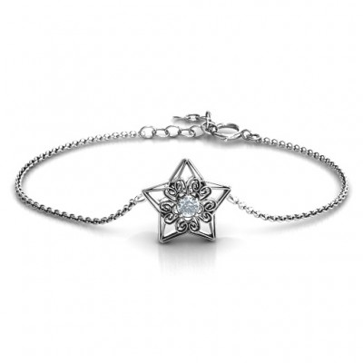 personalized 3D Star Bracelet with Filigree Detailing - Name My Jewelry ™