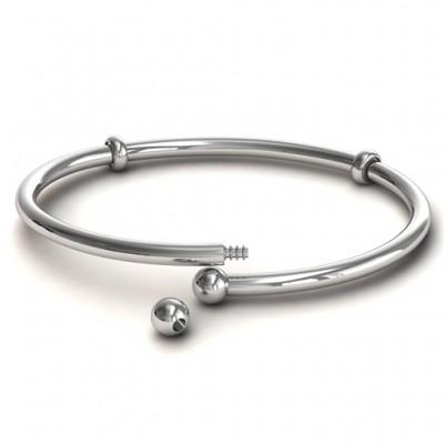 personalized Silver Flex Bangle Charm Bracelet - Name My Jewelry ™
