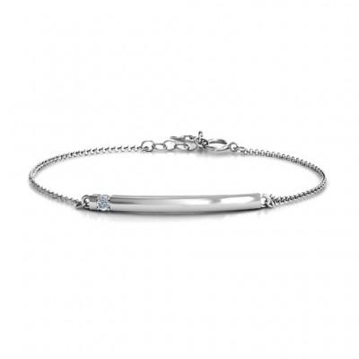 personalized Birthstone Bar Bracelet with 1-5 stones  - Name My Jewelry ™