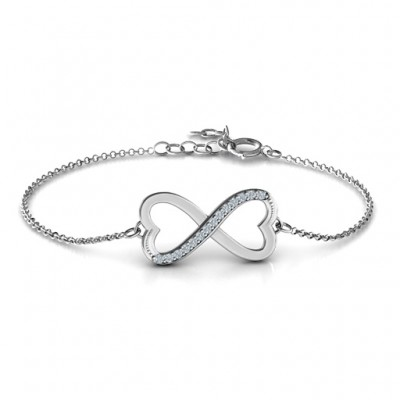 personalized Double Heart Infinity Bracelet with Accents - Name My Jewelry ™