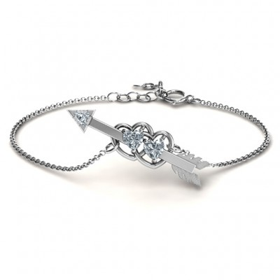 Double Heart with Arrow and Two Heart Stones Promise Bracelet  - Name My Jewelry ™