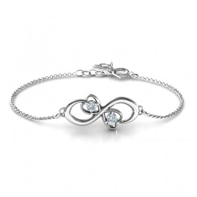 personalized Duo of Hearts and Stones Infinity Bracelet  - Name My Jewelry ™