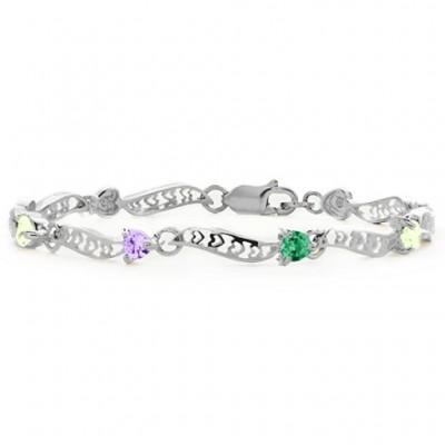 personalized Embedded Hearts 1-8 Stones Bracelet  - Name My Jewelry ™