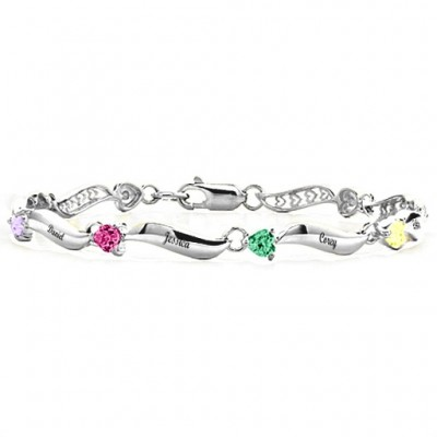 personalized Engraved Bracelet with 1-8 Stones  - Name My Jewelry ™