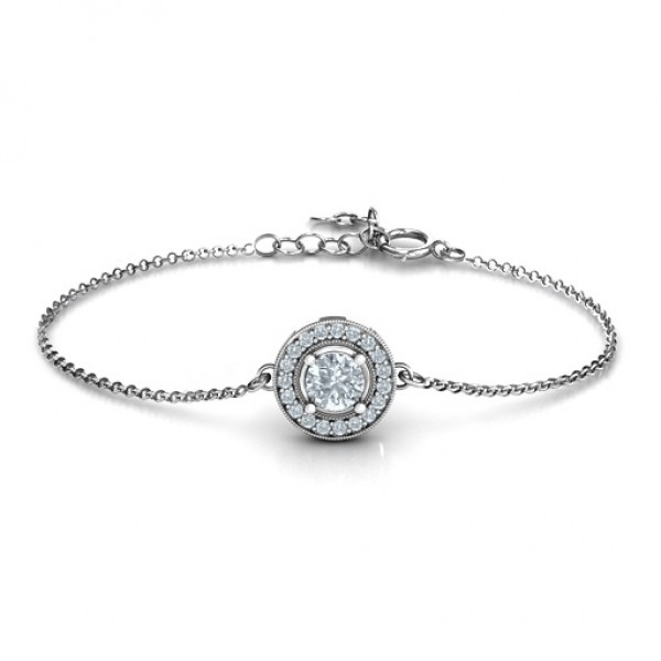 personalized Halo and Accents Bracelet - Name My Jewelry ™