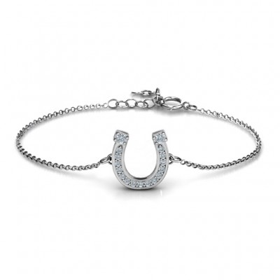 Horseshoe Bracelet with Two Stones and Accents  - Name My Jewelry ™