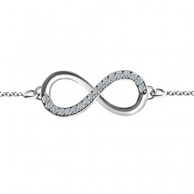 personalized Infinity Bracelet with Single Accent Row - Name My Jewelry ™