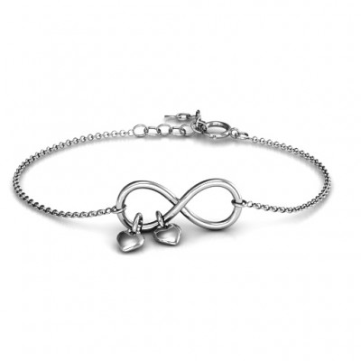 Infinity Promise Bracelet with Two Heart Charms - Name My Jewelry ™