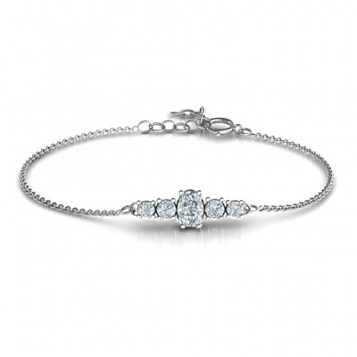 Oval Centre with 4 Side Round Stones Bracelet  - Name My Jewelry ™