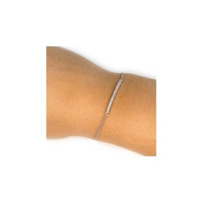 Sterling Silver Beaming Bar Bracelet With Cubic Zirconia Accent Stones  - Name My Jewelry ™