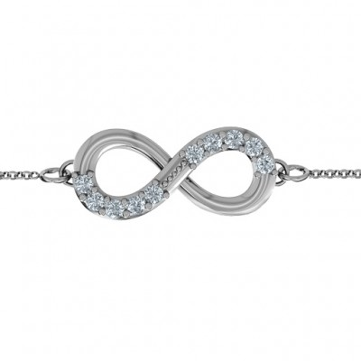 Sterling Silver Birthstone Accent Infinity Bracelet  - Name My Jewelry ™