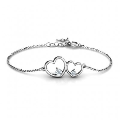 Sterling Silver Double Heart With Two Stones Bracelet  - Name My Jewelry ™