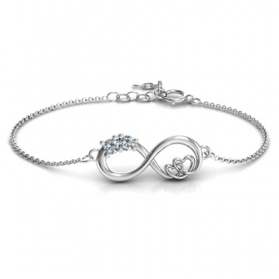 Sterling Silver Double the Love Infinity Bracelet - Name My Jewelry ™