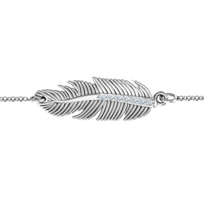 Sterling Silver Feather with Accent Stones Bracelet  - Name My Jewelry ™