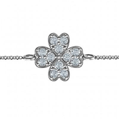 Sterling Silver Four Leaf Heart Clover Bracelet - Name My Jewelry ™