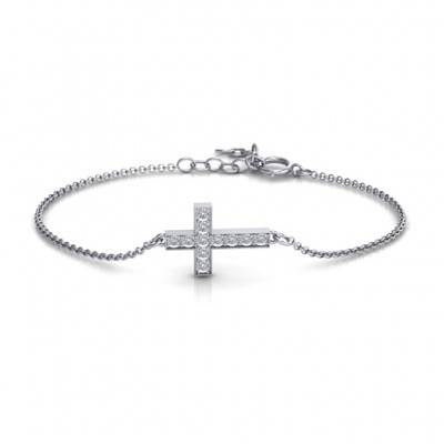 Sterling Silver Shimmering Cross Bracelet With Cubic Zirconia Accent Stones  - Name My Jewelry ™