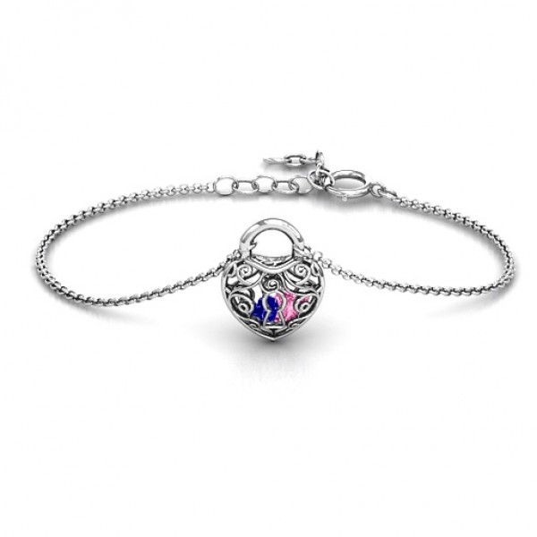 personalized Sterling Silver True Love's Lock Caged Bracelet - Name My Jewelry ™