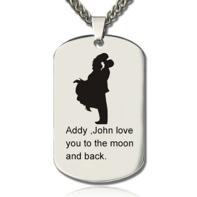 Faill In Love Couple Name Dog Tag Necklace - Name My Jewelry ™