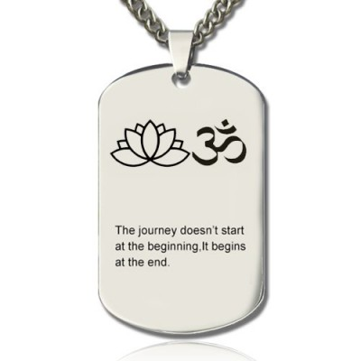 Yoga Theme,Lotus Flower Name Dog Tag Necklace - Name My Jewelry ™