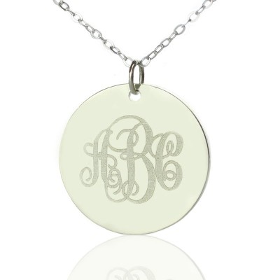 Solid White Gold Vine Font Disc Engraved Monogram Necklace - Name My Jewelry ™