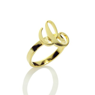 personalized Carrie Initial Letter Ring 18ct Gold Plated - Name My Jewelry ™