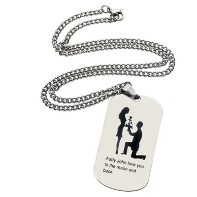 Marriage Proposal Dog Tag Name Necklace - Name My Jewelry ™