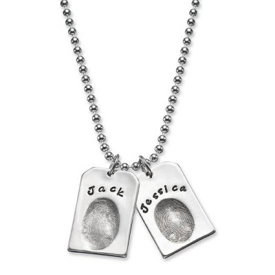 personalized Fingerprint Silver Dog Tags - Name My Jewelry ™
