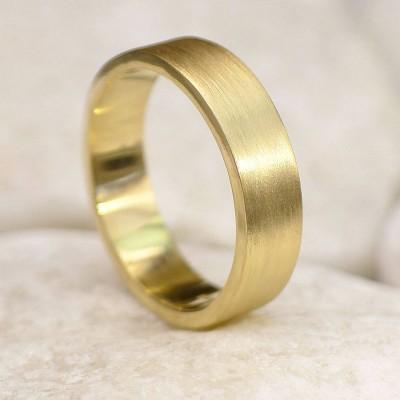 Mens 18ct Gold Wedding Ring, Spun Silk Finish - Name My Jewelry ™