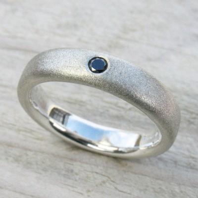 Mens Handmade Black Diamond Silver Ring - Name My Jewelry ™