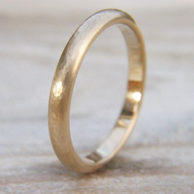 3mm Hammered Wedding Ring In 18ct Gold - Name My Jewelry ™