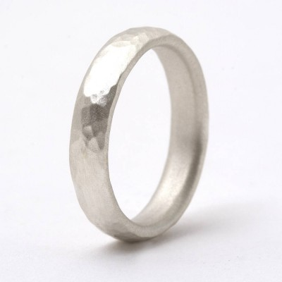 Thin Sterling Silver Hammered Ring - Name My Jewelry ™