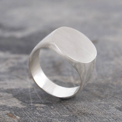 Mens Solid Silver/Gold Circular Signet Ring - Name My Jewelry ™