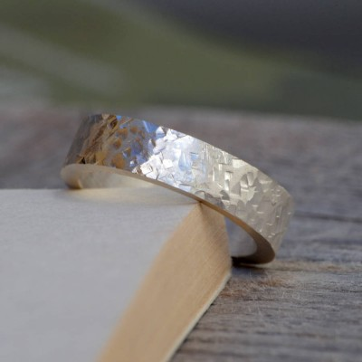 personalized Textured Wedding Band In Sterling Silver - Name My Jewelry ™