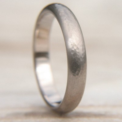 Hammered Wedding Ring In 18ct White Gold - Name My Jewelry ™