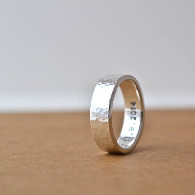 Hammered Silver Hidden Message Ring - Name My Jewelry ™