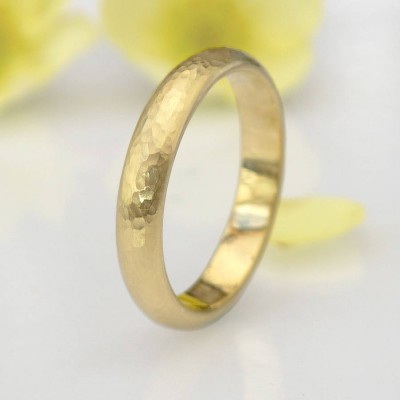 Hammered Ring In 18ct Yellow Or Rose Gold - Name My Jewelry ™