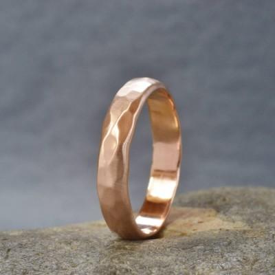 Handmade 18ct Rose Gold Hammered Wedding Ring - Name My Jewelry ™