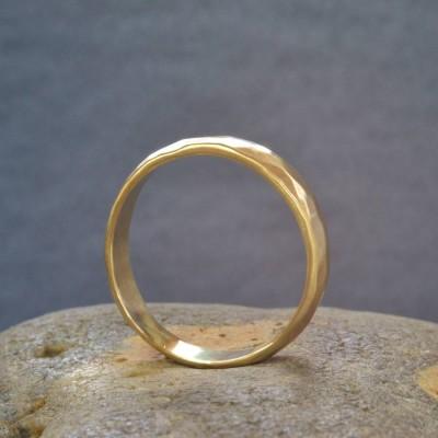 18ct  Gold Handmade Hammered Wedding Ring - Name My Jewelry ™