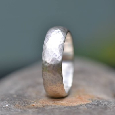 Handmade Silver Wedding Ring Lightly Hammered Finish - Name My Jewelry ™