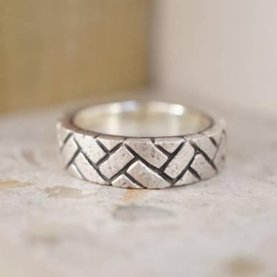 Herringbone Brick Silver Ring - Name My Jewelry ™