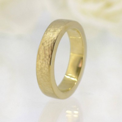 His And Hers Hammered Wedding Ring 18ct Gold Set - Name My Jewelry ™