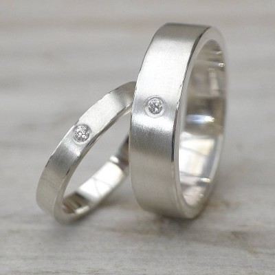 His And Hers Silver Wedding Rings - Name My Jewelry ™