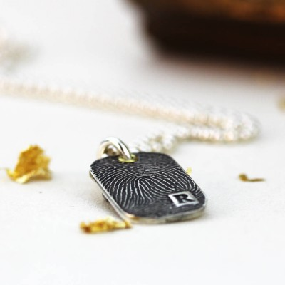 Inked Fingerprint Dog Tag Necklace - Name My Jewelry ™