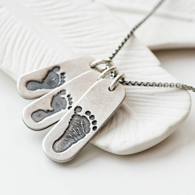 Mens Footprint Trio Tag Necklace - Name My Jewelry ™